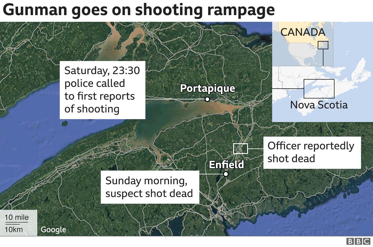 map showing gunman's rampage