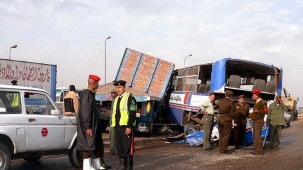 موقع حادث مروري في مصر