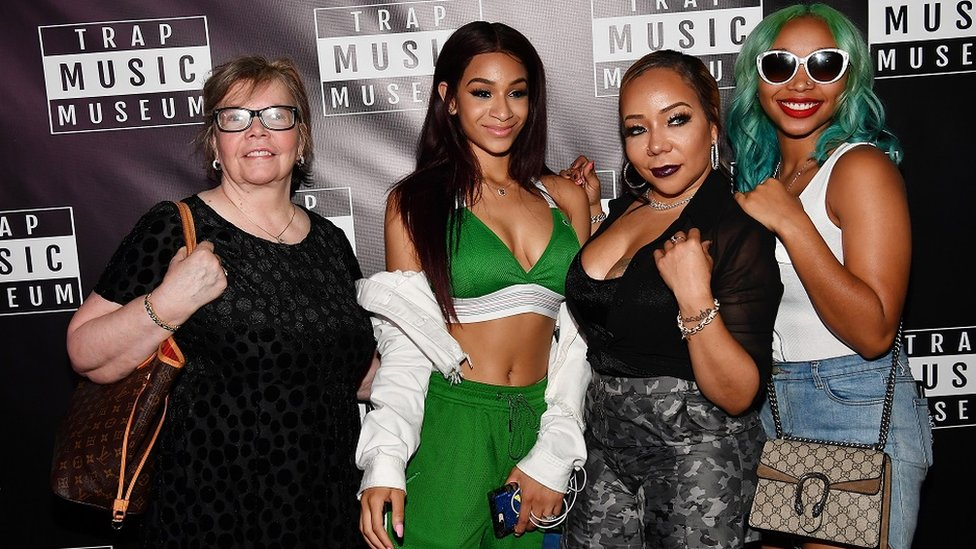 "From left to right: Diane Cottle-Pope, Deyjah Harris, Tameka ""Tiny"" Harris, and Zonnique Pullins attend Trap Music Museum VIP Preview at Trap Music Museum"