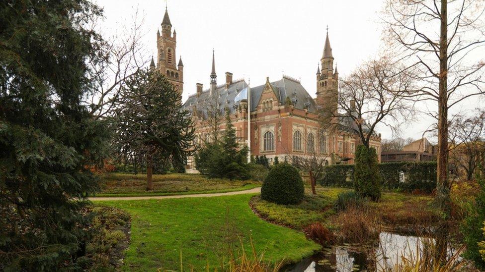 Vista de la sede de la Corte Internacional de Justicia
