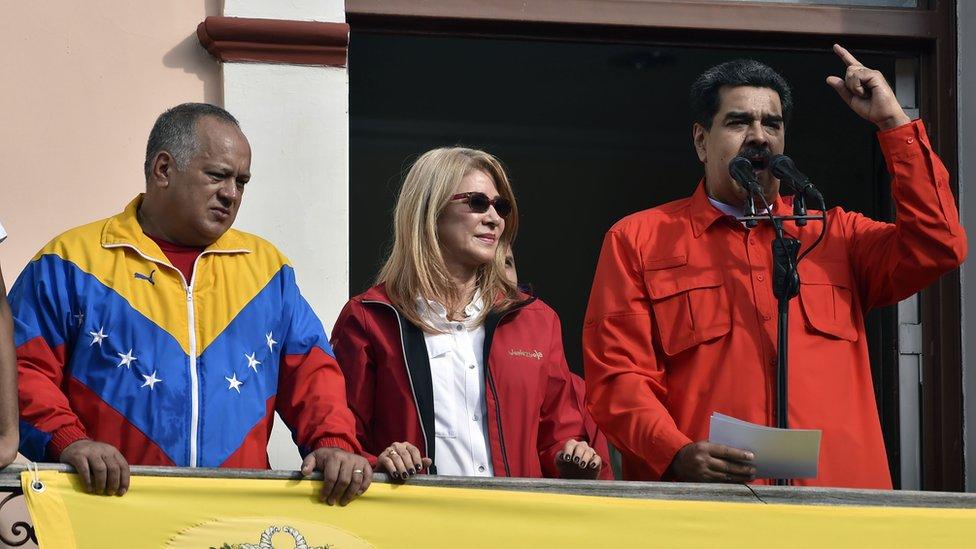 Diosdado Cabello, Cilia Flores y Nicolás Maduro