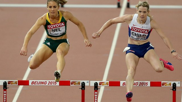 Britain's Eilidh Child competing in her 400m hurdles World Championship Semi-final alongside South Africa's Wenda Nel.