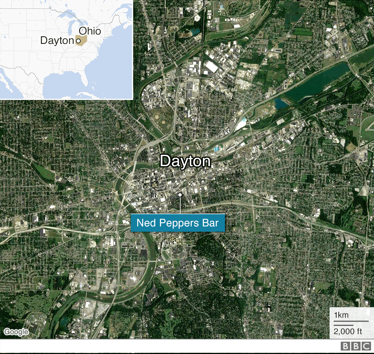 A map shows Ned Peppers Bar in Dayton, Ohio