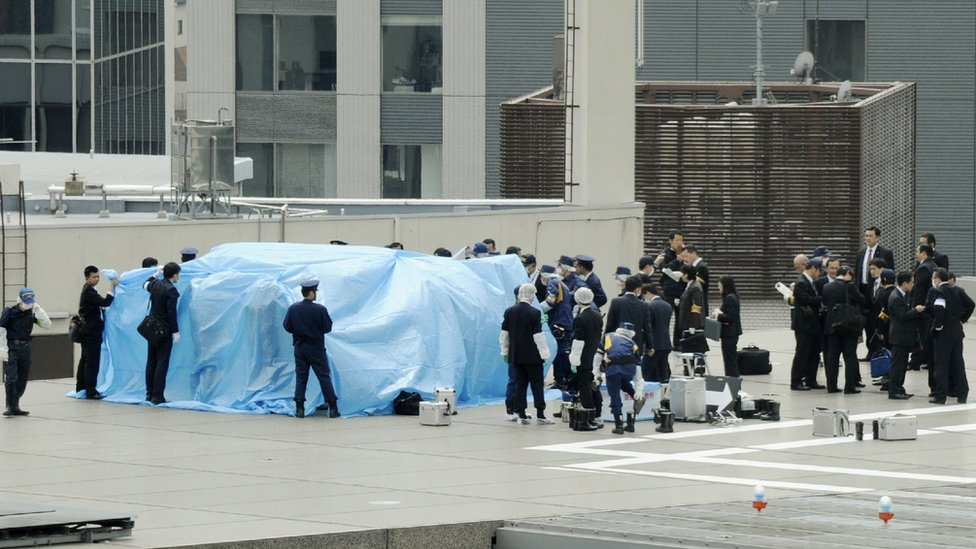 A drone carrying a small radioactive substance landed on the Japanese PM's office in April