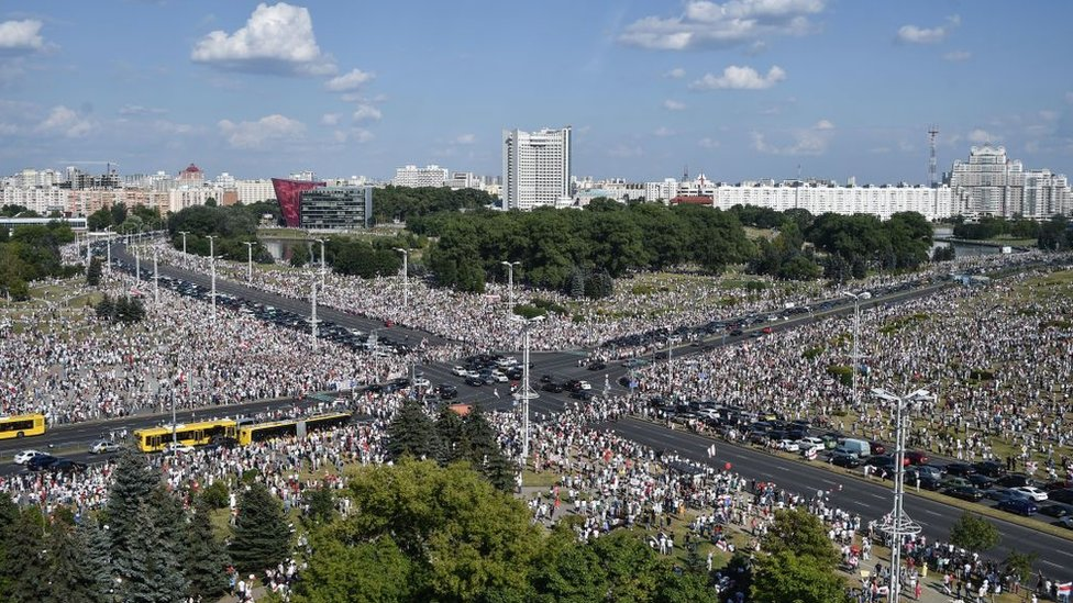 Manifestaciones en Minsk