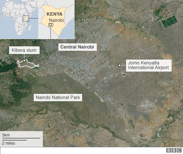 Map showing Nairobi National Park