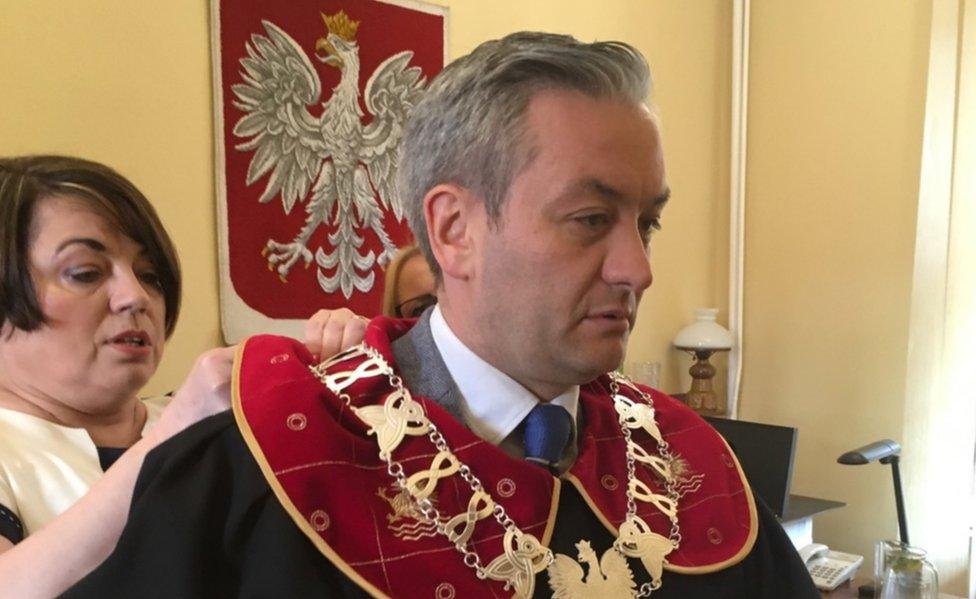 Robert Biedron in his mayor's garb in Slupsk