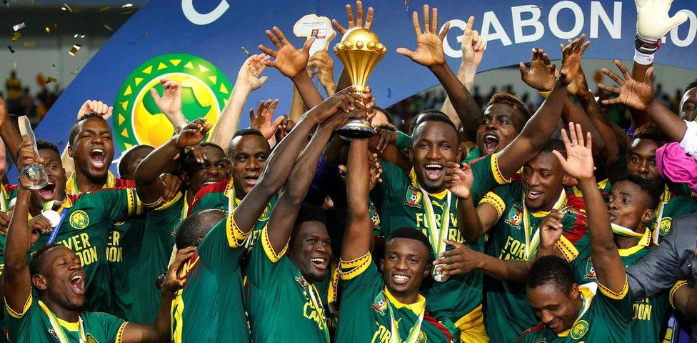 "Cameroon""s Benjamin Moukandjo celebrates"