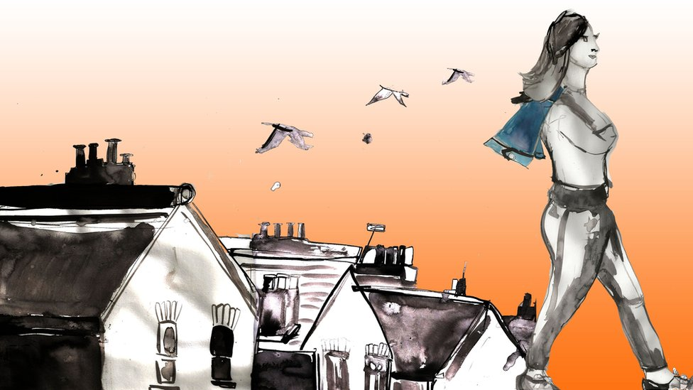 Illustration of a girl walking away wearing a cape and with birds flying in the sky