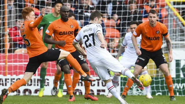 Iain Vigurs scores for Inverness against Dundee United