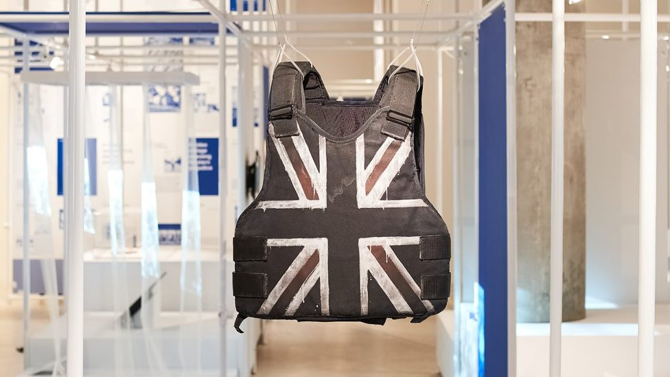 The rapper's famous Union Jack stab-proof vest is on display at the Design Museum
