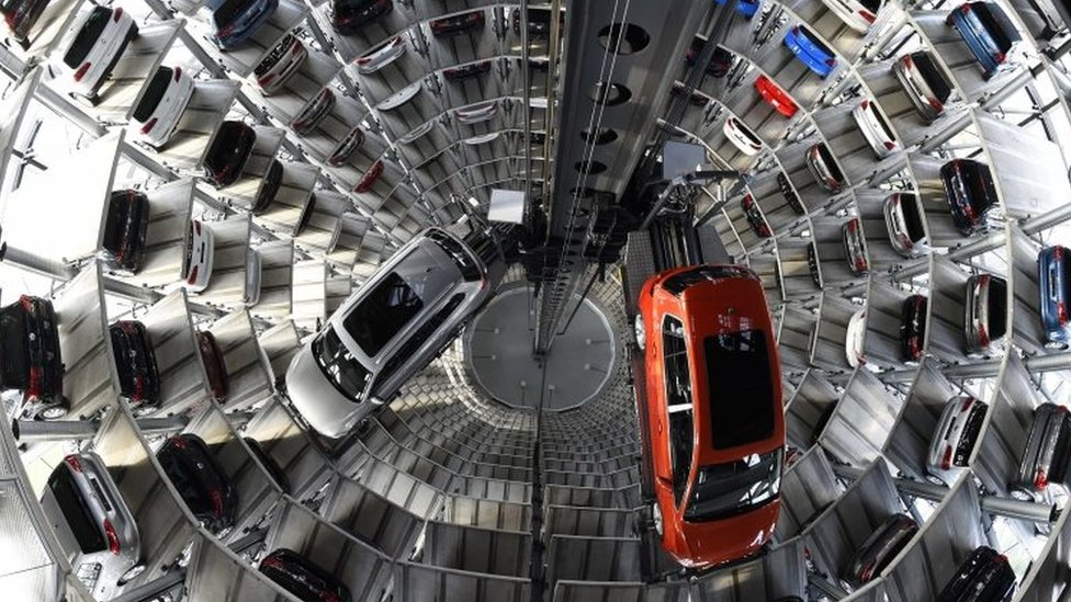 """Volkswagen cars inside """"car towers"""" in Wolfsburg, Germany. File photo"""