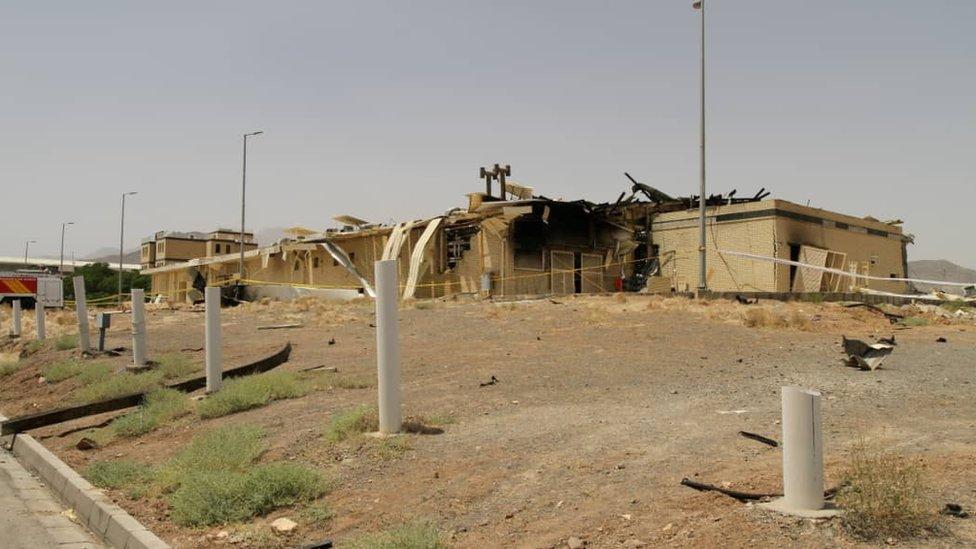 Edificio de Natanz dañado por el fuego