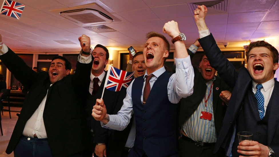 Leave.EU supporters cheer as the results of the 2016 EU referendum come in