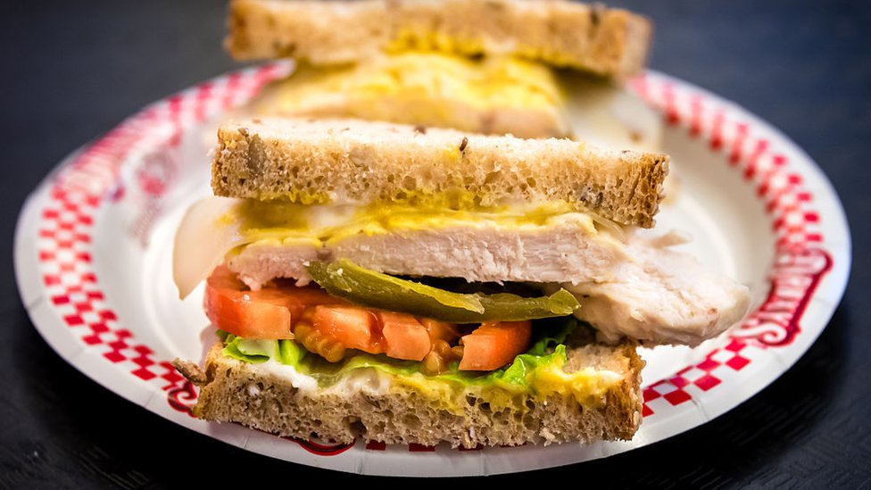 Close up of Sandwich on brown placed on a plate
