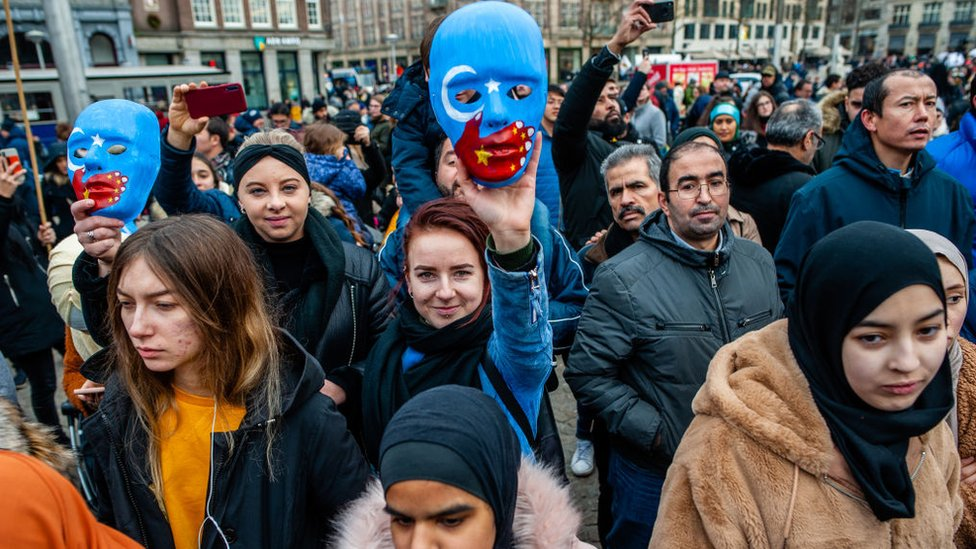 Demonstrators against China persecution of the Uighur people in Amsterdam, December 2019