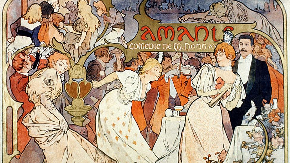 Póster de Alphonse Mucha de la obra Amants del Theatre de la Renaissance