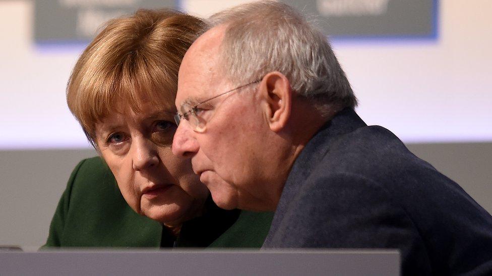 Angela Merkel with Wolfgang Schäuble in 2016