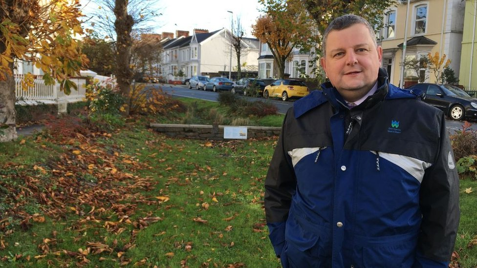 Steve Wilson, managing director of waste water services at Welsh Water, in front of one of the 'planters'
