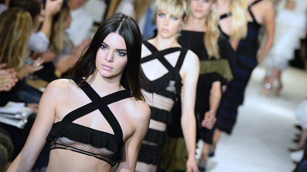Kendall Jenner modelling a Sonia Rykiel creation during the 2015 spring/summer ready-to-wear collection fashion show, on 29 September 2014