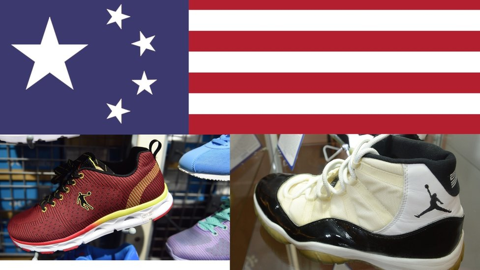 An image showing Nike Jordan shoes, Chinese Qiadoan replicas and a Chinese flag that has adopted the colours of the US flag