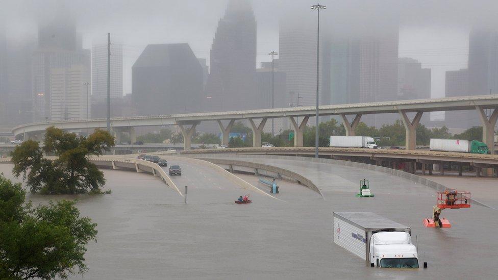 La ciudad de Houston, en Texas, fue una de las más afectadas por inundaciones tras el paso de la tormenta Harvey.