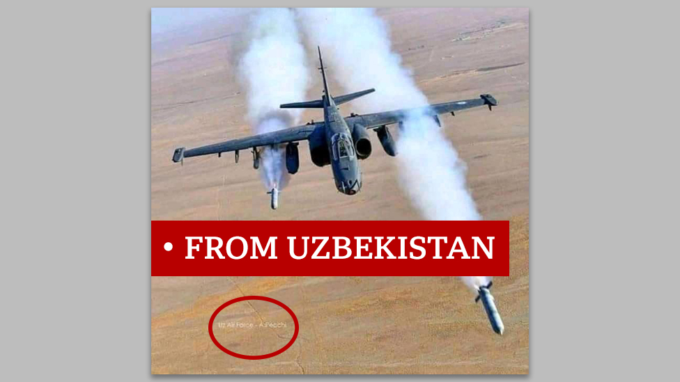 """Picture of military plane labelled """"from Uzbekistan"""""""