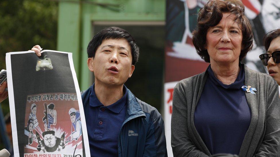 Desertores norcoreanos en Corea del Sur se manifestaron contra el gobierno de Kim Jong-un.