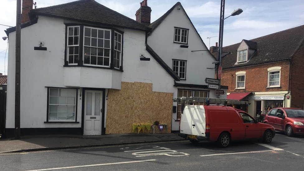 The Hoy pub in St Osyth was boarded up after the crash