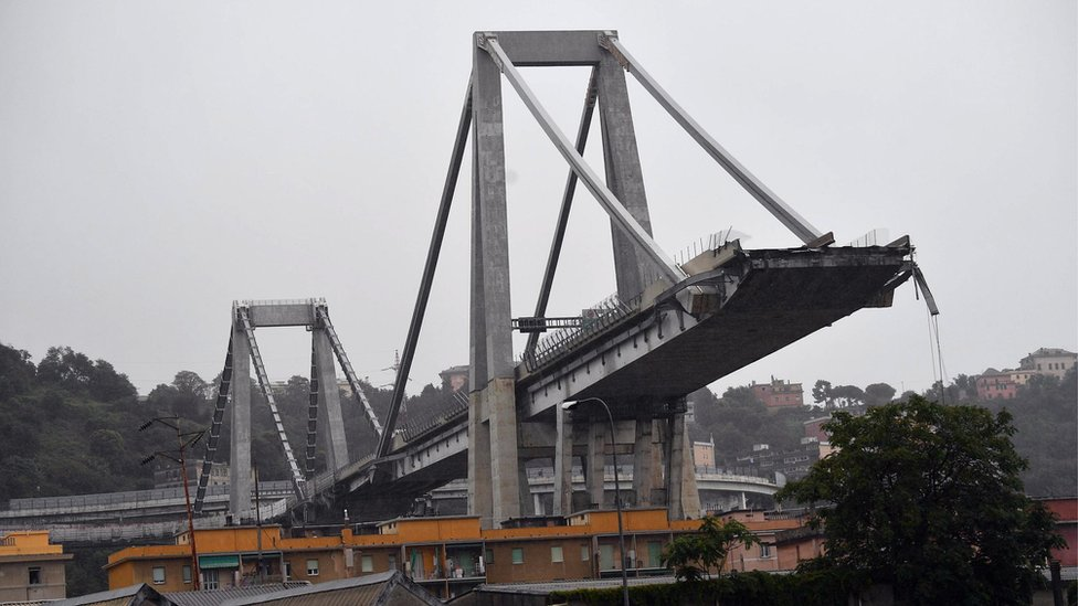 The collapsed Morandi Bridge is seen in the Italian port city of Genoa August 14, 2018