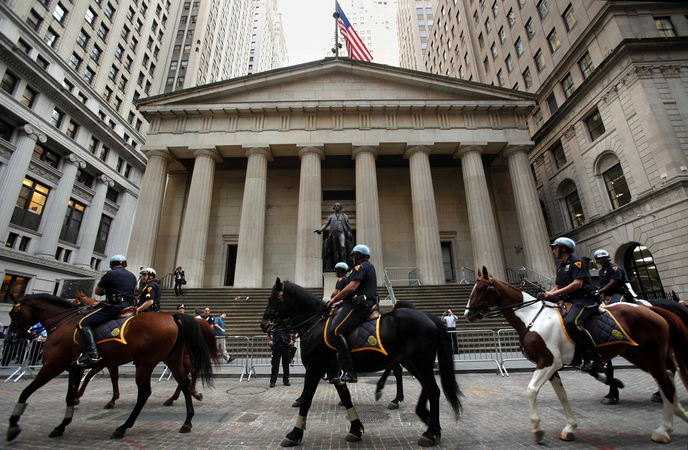 Mounted police in Wall Street