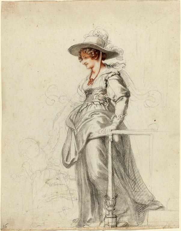 Dibujo de María Cosway con su hija en 1794.