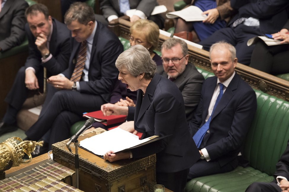 Theresa May gives a speech