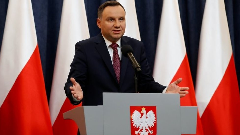 Polish President Andrzej Duda speaks at a news conference in Warsaw. Photo: 20 December 2017
