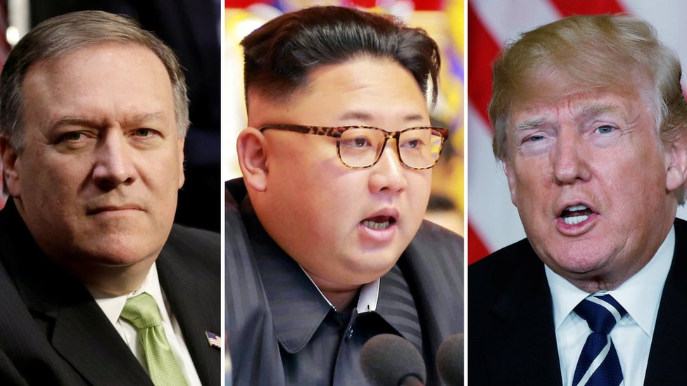 Mike Pompeo(left), Kim Jong-un and Donald Trump