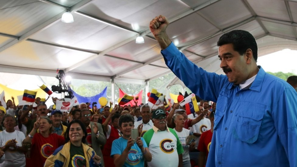 President of Venezuela, Nicolas Maduro, speaking to supporters in Caracas, Venezuela, 25 July 2017.