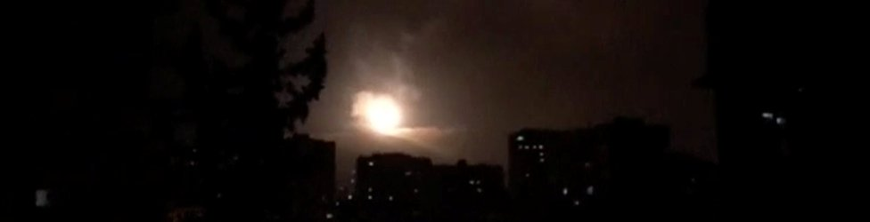 Images showing missile fire broadcast by Syrian TV