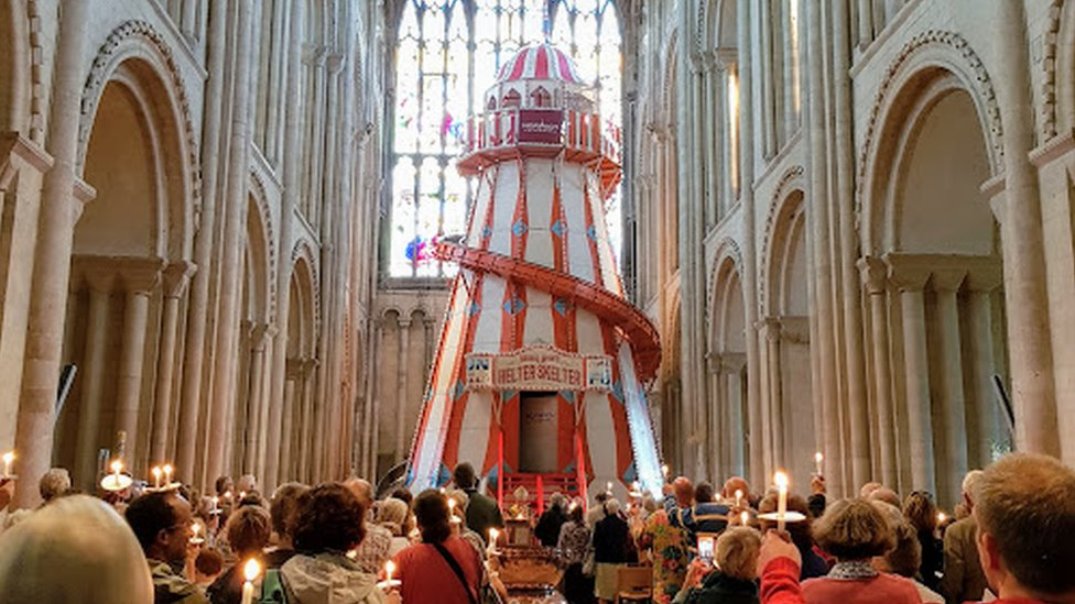 Helter-skelter at Norwich Cathedral