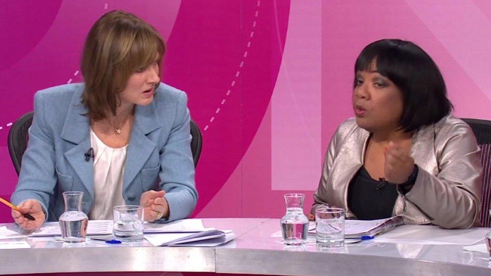 Fiona Bruce and Diane Abbott on QT