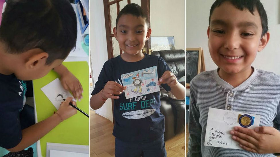 Three pictures showing a boy drawing a postcard, showing the penguin design and then getting it back with an Antarctica stamp