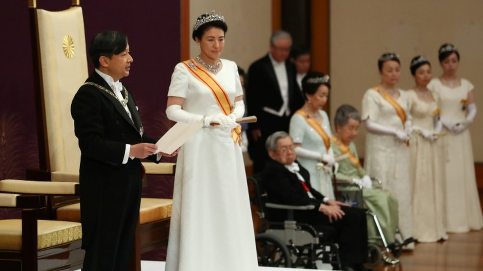 Emperor Naruhito and Empress Masako at his first speech as emperor, Tokyo (1 May 2019)
