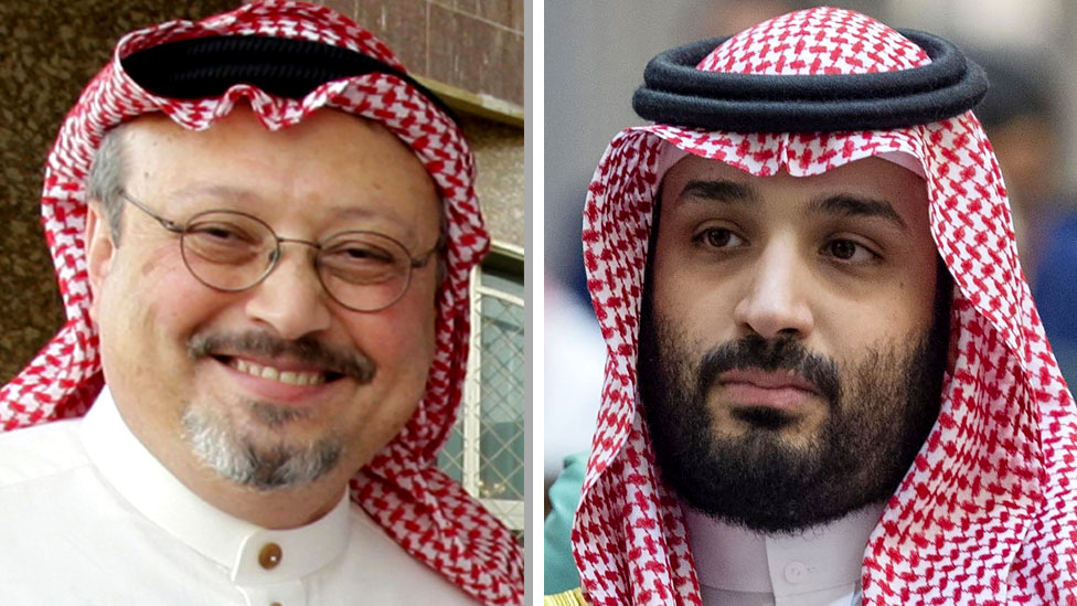 Composite image showing Jamal Khashoggi (L) and Mohammed bin Salman (R)
