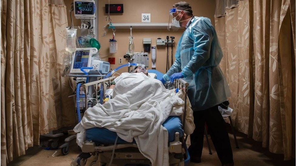 Covid patient at Apple Valley, California, hospital