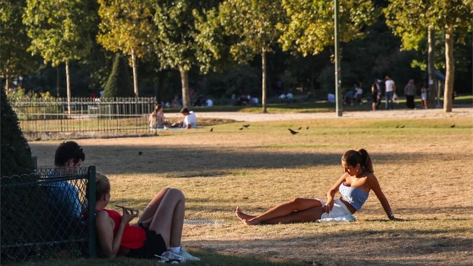 A woman basks in the sun at the Champ de Mars park, next to Eiffel Tower, as the temperature of Paris reaches up to 36-celsius degrees, in Paris, France, 07 August 2020