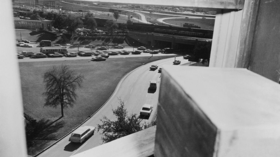 The view from the sixth floor of the Book Depository, taken one hour after the assassination