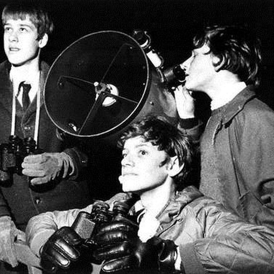 Chris Lee (centre) at school observatory in 1971