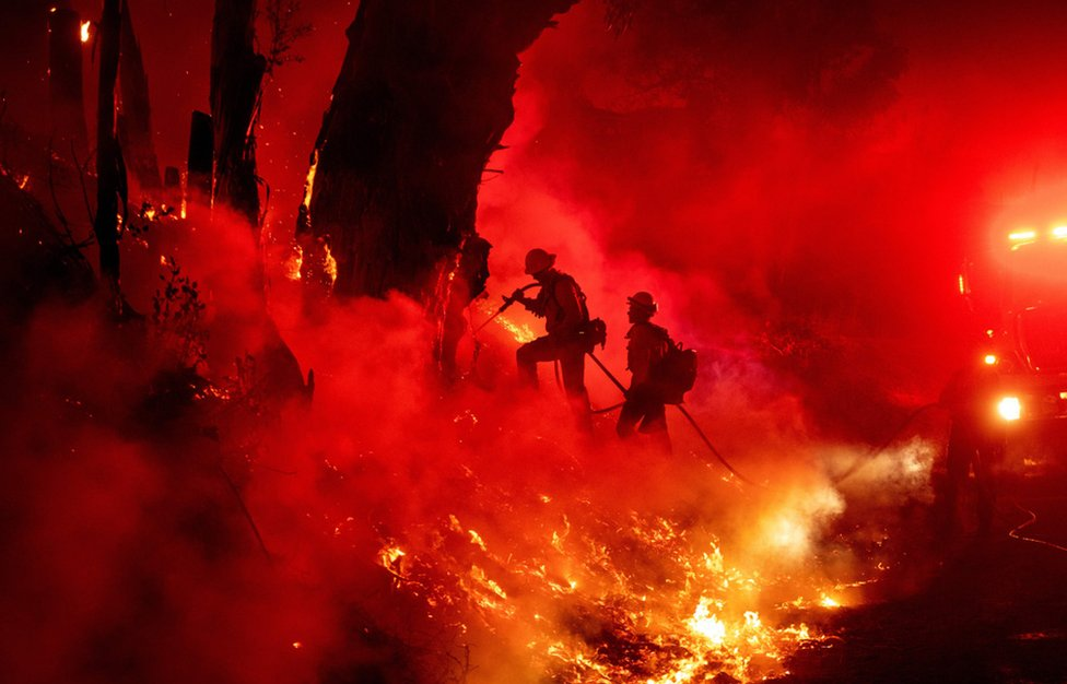 Fire-fighters work to control flames from a backfire during the Maria fire in Santa Paula, California on 1 November 2019.