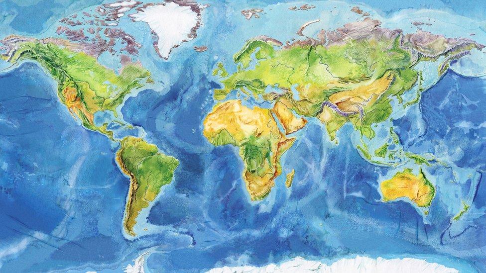 Dibujo de los continentes.