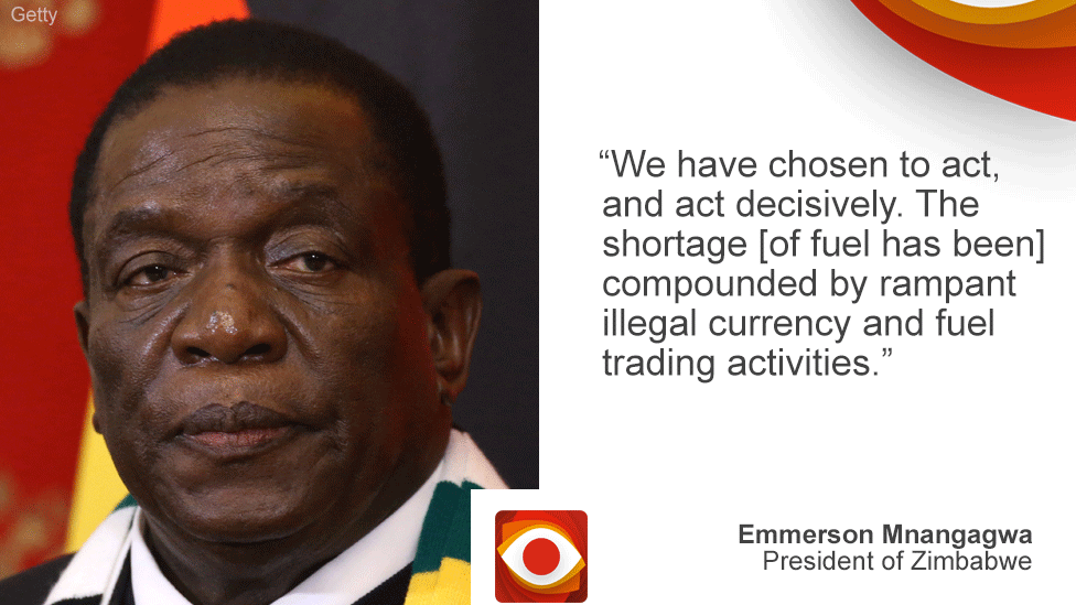 "President Mnangagwa on Zimbabwe on left, quote: ""We have chosen to act decisively..."" on right"