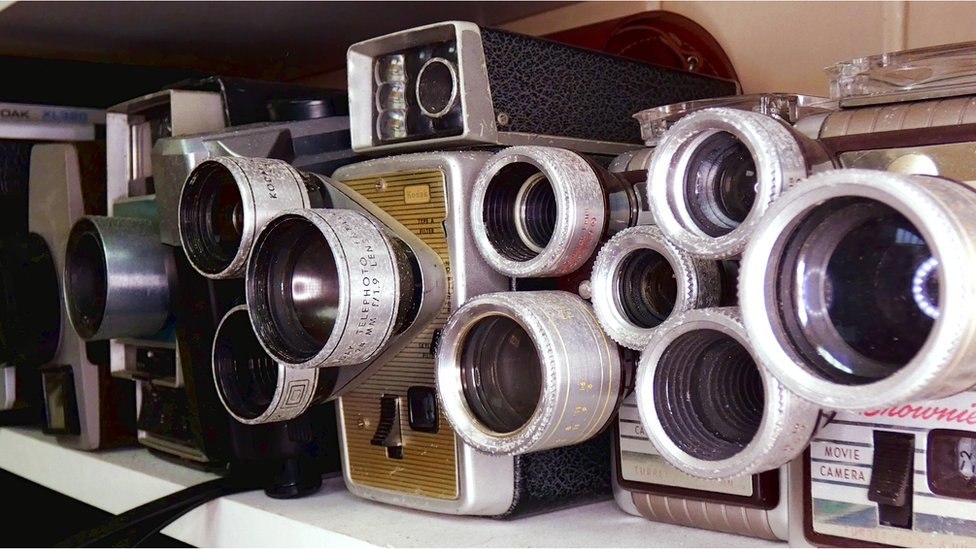 Kodak Cine Cameras, including (from right) a Brownie Movie and a Brownie Turret camera.